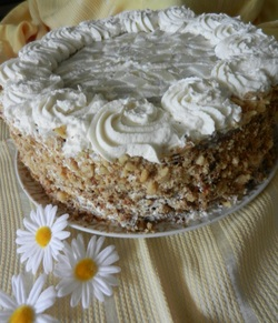 Spiced Pear Cake with Honeyed Whipped Cream and Toasted Walnuts