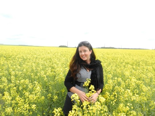 In a field of canola flowers in the Loire Valley.