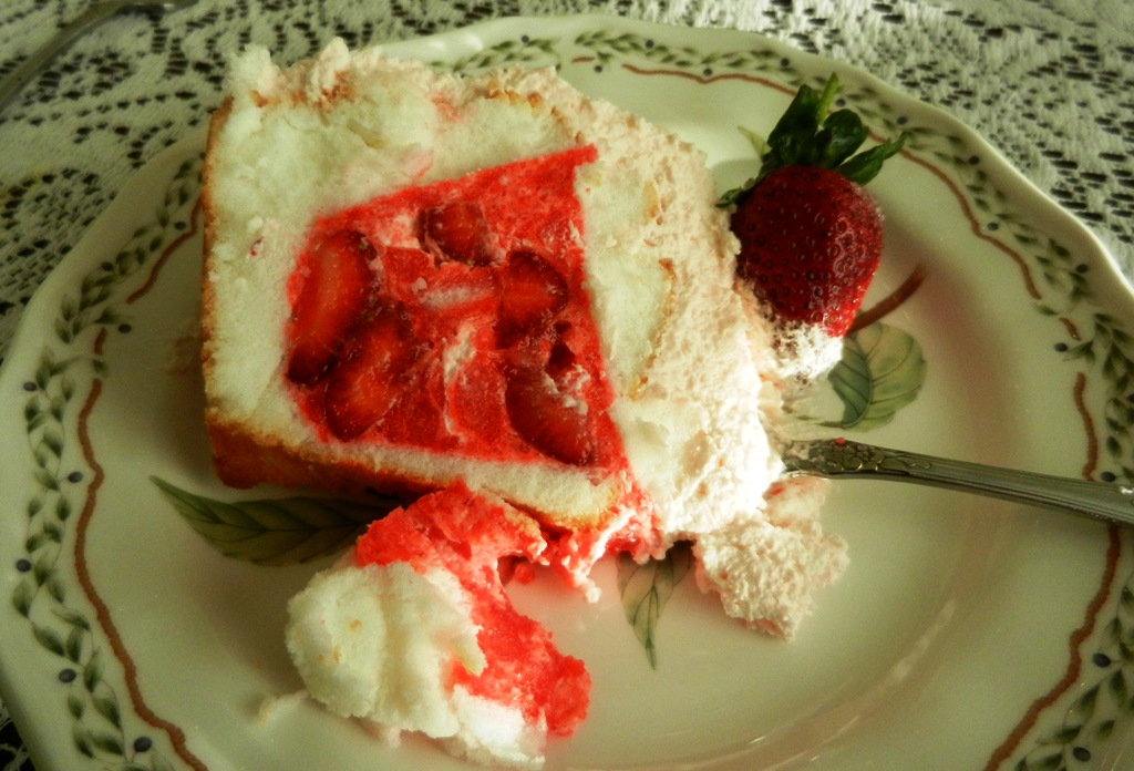 Strawberry Jello Filled Angel Food Cake