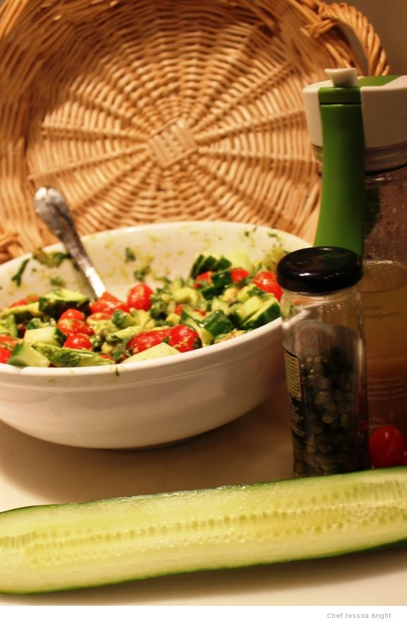 Cucumber-avo-mato Salad With Cumin Dressing