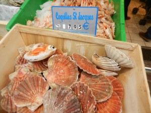 Fresh scallops at le Poissonerie